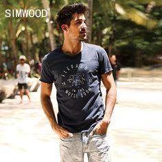 Summer New T Shirt Men 100% Pure Cotton Letter Elephant Fashion Casual Curl Hem Tops Tees