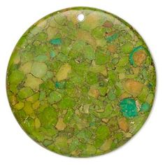 "Focal, mosaic ""turquoise"" (dyed / assembled), green, 40mm top-drilled flat round, C grade, Mohs hardness 3-1/2 to 4. Sold individually."