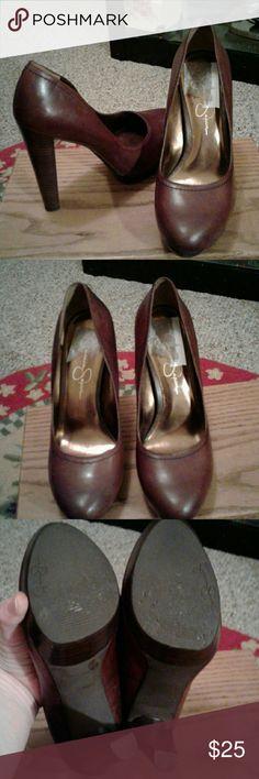 """Jessica Simpson heels Gently worn brown high heels .leather upper platform heel 5"""" heel 2"""" platform Jessica Simpson Shoes Heels"""