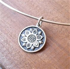 Sterling Silver Lotus Flower Pendant Necklace, World Religions Layering Piece, Interfaith Wedding, Oxidized Silver Coexist Pendant Oxidized Sterling Silver, Sterling Silver Jewelry, World Religions, Circle Shape, Flower Pendant, Lotus Flower, Bridesmaid Gifts, Layering, Gifts For Her