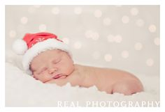 christmas newborn baby portrait photo announcement idea