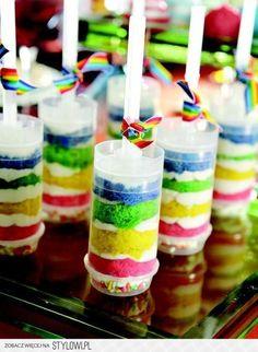 colorful rainbow cake push-pops