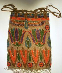 Egyptian Revival drawstring beaded bag, 1920's