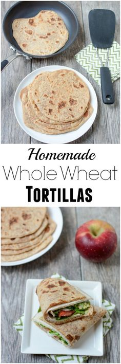 Made with just 4 ingredients, this recipe for Homemade Whole Wheat Tortillas is easy to make and tastes way better than store-bought! healthy_food_to_lose_weight, healthy_food, Flour Recipes, Vegan Recipes, Cooking Recipes, Bread Recipes, Mexican Food Recipes, Whole Food Recipes, Mexican Sweet Breads, Enjoy Your Meal, Healthy Snacks