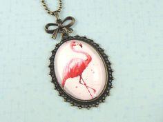 Oval Vintage Cabochon Cameo Necklace Pink Flamingo Art Print