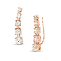 Graduated Lab-Created White Sapphire and Diamond Accent Crawler Earrings in Sterling Silver with Rose Gold Plate Sapphire Stone, Sapphire Diamond, White Sapphire, Diamond Stone, Peoples Jewellers, Gold Plated Earrings, Earring Backs, 18k Rose Gold, Designer Earrings