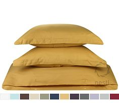 Duvet Cover for a Duvet Insert Comforter, Queen Size, Camel Gold Solid Color, 100% Double Brushed Microfiber Fabric 1800 Series Luxury Bedding Collection, Hypoallergenic, Most Cozy Comfortable Bedroom Set on Amazon, Basic 3-Piece Set Includes Silky Soft Duvet Cover with Pillow Shams, Supreme Quality Bed Linen Sale by Nestl Bedding