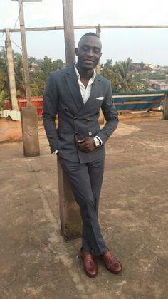 #men's #wear #fasion. #dark grey suits #white shirt #brown shoes. #Eddie Fasion.+237 673644411