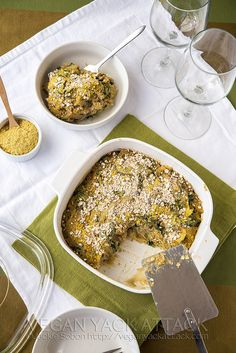 Mushroom Lentil Spaghetti Squash Casserole- #vegan, low-fat, gluten-free and high in protein!
