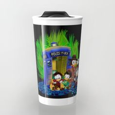 The Doctor Duck 4th 10th 11th and 12th who Tales TRAVEL MUG #Travelmug #mug #drawing #digital #colored #pencil #inkpen #popart #comic #cartoon #mickey #mouse #donald #duck #doctorwho #davidtennant #10thdoctor  #doctor #tardis #whovian #thedoctor  #theducktales