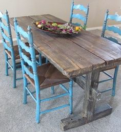 """I love this rustic """"shabby chic"""" kitchen table Decor, Rustic Table, Shabby Chic Kitchen Table, Rustic Furniture, Dining Table, Home Decor, Rustic Buffet Tables, Rustic Dining Table, Buffet Table"""