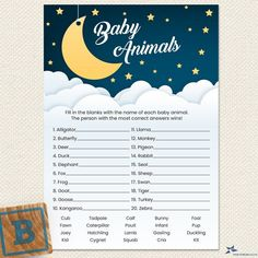 Baby Animal Games, Baby Animals, Golden Star, Over The Moon, Baby Shower Printables, Cool Baby Stuff, Card Sizes, Irish Symbols, As You Like