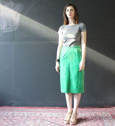 green leather skirt s by cheapopulance on Etsy, $35.00
