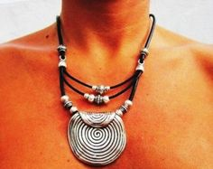 Silver necklaces leather necklace silver pendants by kekugi