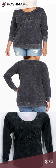"17234 Torrid Mineral Washed ""Love"" Sweatshirt The ultimate lazy style - the sweatshirt - gets the rock 'n' roll upgrade it deserves. Feel like you're chillin' on the couch with the soft and stretchy grey knit. Look like you're going to a concert with the 80's inspired mineral wash. Spread the ""love"" with vintage-inspired embroidery.  NWT  From the Winter 2016 collection Torrid 2 will fit 1X Torrid Sweaters"