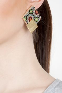 Square Printed Wood Earrings - Fashionnoiz