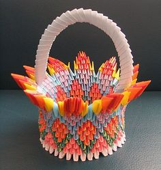 3D Origami - Flower by Flower Basket