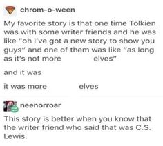 """""""AS LONG AS IT'S NOT ABOUT MORE ELVES"""""""
