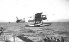 Battleship Roma launching a seaplane, date unknown