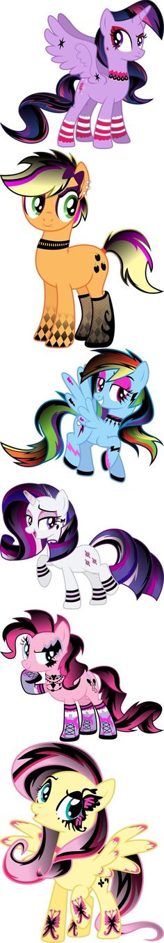 Goth MLP one each ADOPTED SO FAR: Fluttershy, Pinkie Pie, Rainbow Dash, rarity)