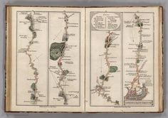 These strip maps of roads around London come from an atlas printed in 1790 by mapmaker John Cary. For travelers moving on foot or on horseback, the level o