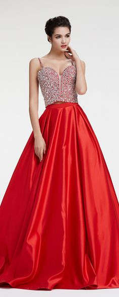 Sparkly prom dresses crystals beaded prom dress long two piece prom dresses red pageant dresses 2 pieces evening dresses
