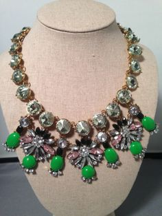 Pink green Crystal statement Necklace | eBay