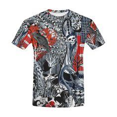 be9a6d353 Guitar T Shirt Raven Skull by Juleez All Over Print T-Shirt for Men (