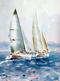 Veleros en la costa. acuarela sobre papel, 75 x 56 cm.