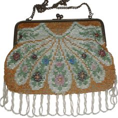 Vintage Beaded Purse with Fan/Feather Shape & Looped Fringe