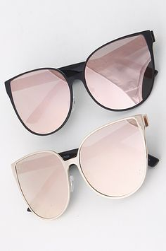 """The Diva Cat Eye Sunglasses feature a cat-eye trim with a reflective lens. Available in Black, Gold, and Pink. Size: Approx. 6""""x 2.2"""" Man Made Materials."""