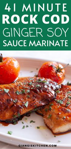 This rock cod in ginger soy sauce marinate is the perfect fish dinner for a weekend or a weekday night! If you are looking for something quick and easy then you are are in the right place! Cod Recipes, Fish Recipes, Easy Dinner Recipes, Seafood Recipes, Great Recipes, Easy Meals, Seafood Dishes, Delicious Recipes, Dinner Ideas