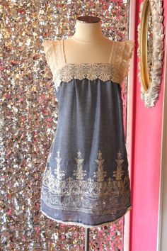 Denim and Lace Dress (have to add some sleeves for me)