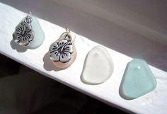 Hibiscus and Beach Glass Necklace. Hawaiian by TheTiffanyBlueShop, $26.00