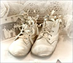 a precious pair  of Vintage Baby Shoes