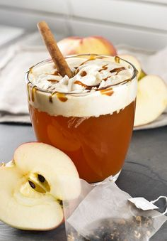 8oz apple cider 1 chai tea bag (you may want to use decaf if you're making this later in the evening) Small slice of orange or lemon peel, optional Caramel, optional Whipped cream, optional