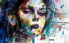 Esta imagen nos muestra a una mujer donde su cara se reflejan distintos colores en forma de dripping, muestra mucha creatividad por el autor.
