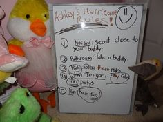 "Greg Taylor from Mandeville, Louisiana, sent the photo to CNN: ""Yesterday, I sent my family to AL to avoid Hurricane Isaac. After they left, I found ...my daughter, Ashley, had given good instruction on how her stuffed animal friends should behave during the Hurricane."""