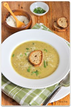 Zuchhini Soup with Garlic Toasts - even without the garlic toasts and chives, Casey and Sophie loved this.