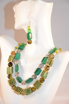 Check out Luck of the Irish Double Necklace and Earring Set. Green. Agate. Porcelain. Cat's Eye. Dragon Vein. Goldstone. Garnet. Malachite. Jewelry on flashinfashinjewelry