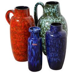 Group of Large Ceramic Vases Designed by Scheurich WG