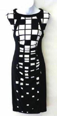 Joseph Ribkoff 32865 Black/White Cocktail Dress Sizes 4 6 8 10 New NWT