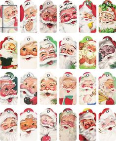 Christmas 49 Digital Collage Sheet — 2 inch tags format. Totally cute Santa tags.