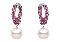 Yoko London 18kt black gold earrings with 14-15mm South Sea pearls and 10.49cts pink sapphires.