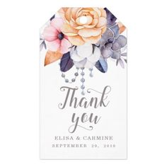 Modern Peonies Floral Wedding Thank You Favor Gift Tags - wedding thank you marriage thankyou idea diy customize personalize