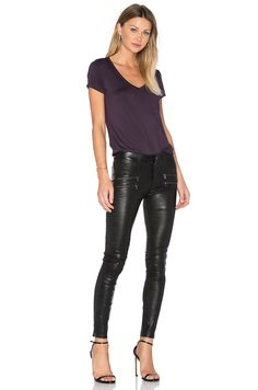 PAIGE Edgemont Leather Pant in Black | REVOLVE