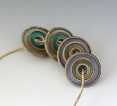 Rustic Stain Glass Disks  4 Handmade Lampwork Beads  by outwest