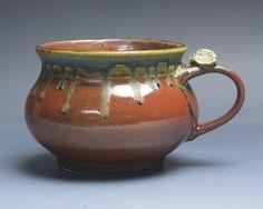 Handmade pottery soup mug ceramic chili mug cereal ice cream bowl iron red 20 oz 3969 by BlueParrotPots on Etsy