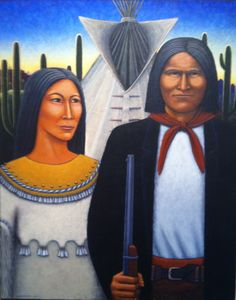 "New acquisition  American Gothic: Geronimo Country  by David Bradley  web # 10394  Original Paintings    Acrylic on canvas panel    30""h x 24""w"