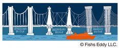 【BRIDGE & TUNNEL (ブリッジ&トンネル)ニューヨーク市にかかる橋のデザインに、コラボレーション限定デザインとして、オレンジ色のスタテン島フェリーを加えました。   ミスタードーナツ】『FISHS EDDY(フィッシュズエディ) オリジナルマグ』と『FISHS EDDY オリジナルプレート』を発売|ダスキンのプレスリリース